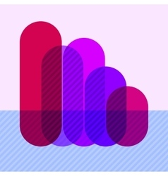 Infographics with falling purple overlapping bars vector image