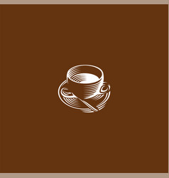 Isolated brown color cup in retro style logo vector