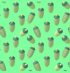 Isometric lowpoly fir cone pattern vector