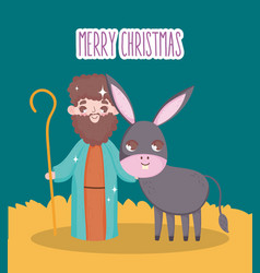 Joseph and donkey manger nativity merry christmas vector