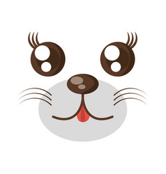 Kawaii face animal expression icon vector