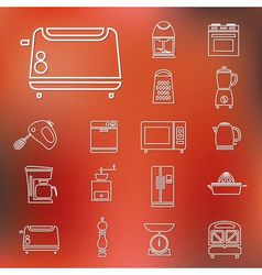 Kitchen appliances and tools outline icons vector