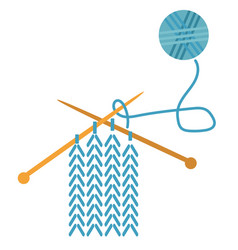 Knitting flat on white vector
