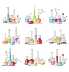 Lab flask set vector image