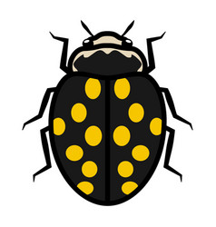 ladybug logo symbol icon fourteen yellow spots vector image