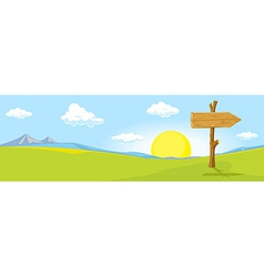 Landscape with directional signs - the way vector