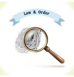 Law icon fingerprint under magnifier vector image