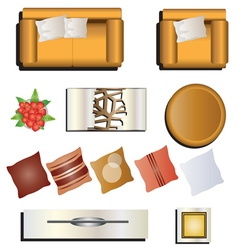 Living room furniture top view set 7 for interior vector image