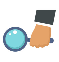 magnify glass in hand icon flat style vector image