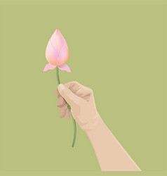 Man hand holding lotus buds vector