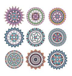 Mandalas colors boho style set vector