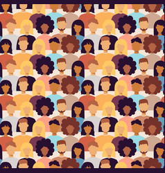 Many trendy people portraits seamless pattern vector