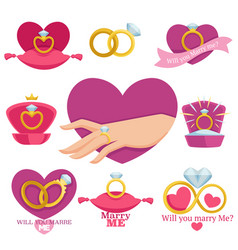 marry me romantic logotypes with bridal and vector image