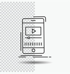 media music player video mobile line icon on vector image