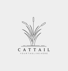 Minimalist cattails line art logo design vector