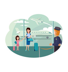 mother and daughter at airport ready to leave vector image