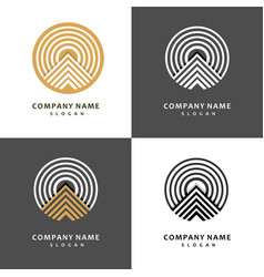 Mountain logo template set stylish and graceful vector