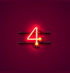 Neon city font sign number 4 signboard four vector