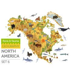North america flora and fauna map flat elements vector