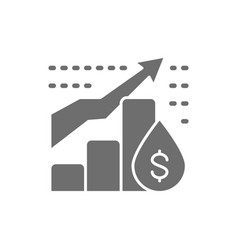 oil price chart grey icon isolated on white vector image