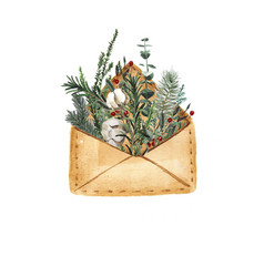 Open envelope with fir tree branches a monkey with vector