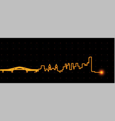 Panama city light streak skyline vector