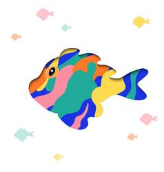 paper cut cartoon fish shape in polygonal trendy vector image