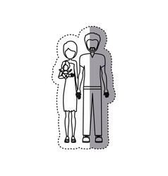 People couple with their children icon vector