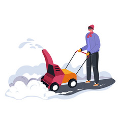 person cleaning snow outside with help machine vector image
