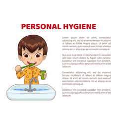Personal hygiene info poster with boy in pajamas vector