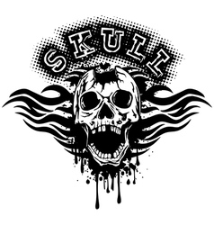 Pierced skull on grunge splash with tribal vector