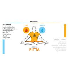 pitta dosha or mesomorph - ayurvedic body type vector image