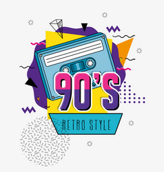 Poster nineties with cassette retro style pop vector