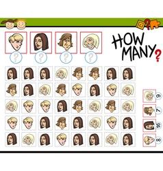 Preschool counting task cartoon vector