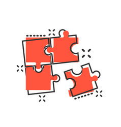 Puzzle compatible icon in comic style jigsaw vector