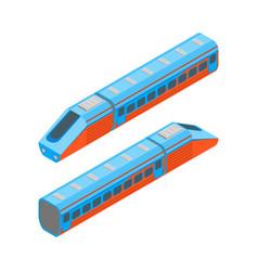 Railway passenger train isometric view vector