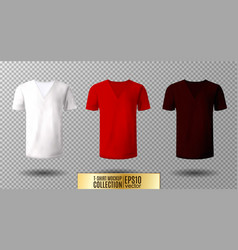 Realistic v-neck t-shirt mock up vector