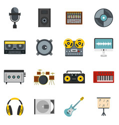 Recording studio items icons set in flat style vector