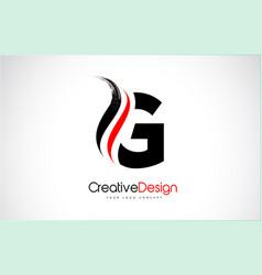 Red and black g letter design brush paint stroke vector