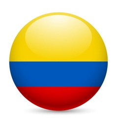 Round glossy icon of colombia vector