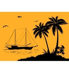 Sea Landscape with Palms and Ship Silhouettes vector image