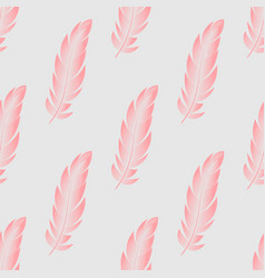 seamless pattern with pink feathers of vector image