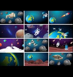Set different space scenes vector