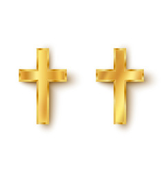 Set icons of a golden cross vector