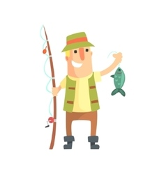 Smiling Amateur Fisherman In Khaki Clothes Holding vector image