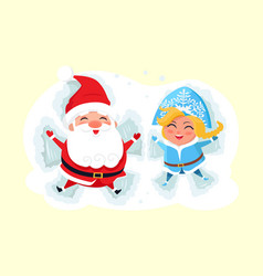 Snow maiden and santa claus making angel on snow vector