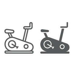 Stationary bike line and glyph icon sport and vector