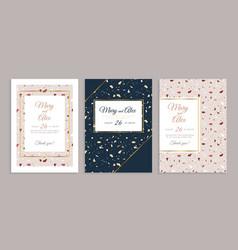terrazzo wedding invitation card bridal abstract vector image