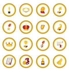 trophy and awards cartoon icon circle vector image