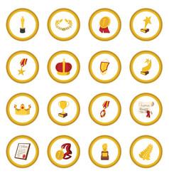 Trophy and awards cartoon icon circle vector